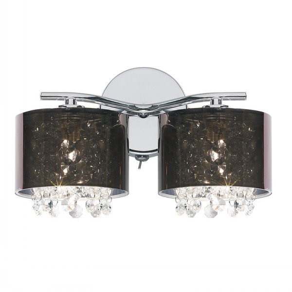 Endon 9112 Chrome wall and ceiling light smoked shades