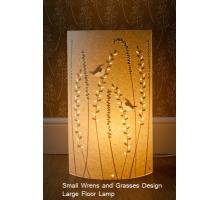 Hannah Range of  Wrens and Grasses design Table Lamps Small Round floor lamp